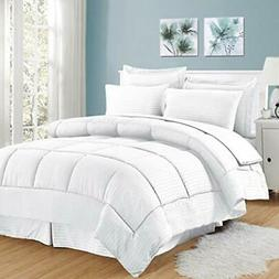 8 Piece Bed In A Bag with Dobby Stripe Comforter, Sheet Set,