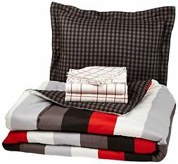 AmazonBasics 5-Piece Bed-In-A-Bag Twin/Twin XL Red Simple St
