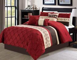 Luxlen 7 Piece Bed in bag Comforter Set, Cal King, Red