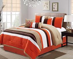Luxlen 7 Piece Bed in bag Comforter Set, Oversized, Queen, O