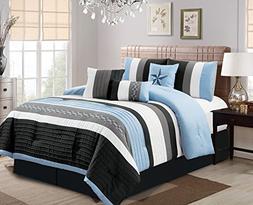 Luxlen 7 Piece Bed in bag Comforter Set, Oversized, Queen, B