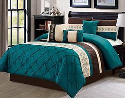 Luxlen 7 Piece Bed in bag Comforter Set, King, Green