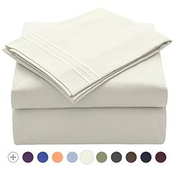 VEEYOO Bed Sheet Set King - Extra Soft 1800 Thread Count Mic