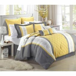 Bedding Comforter Set Striped Pattern Modern Bedroom King Si