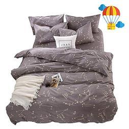 BuLuTu Bedding Constellation Print Queen Bedding Sets Cotton