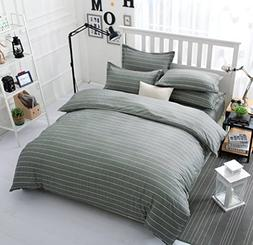 Bedding Duvet Cover Sets 3-pieces Twin Size Microfiber , Whi