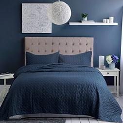 Bedsure Bedding Quilt Set King size Navy Blue Quatrefoil Pat
