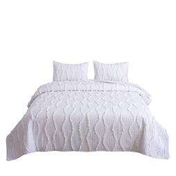 FELIX ANGELA HOME 3-Piece Bedding Quilt Set-Elegant Ruffle S