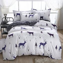 KFZ Christmas Elk Woodland Snow White Bedding Set   No Comfo