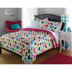 Bedding Set For Girls Full Sz Comforter Teen Chevron Kids Re