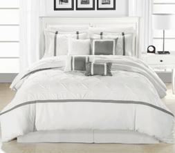 CHIC HOME BEDDING VERMONT WHITE/SILVER 8 PIECE COMFORTER SET