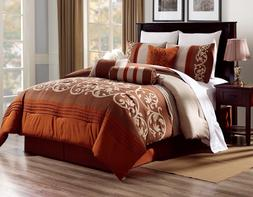 BEDROOM BRICK RUST BROWN DUVET TAUPE PATTERN COMFORTER BED C