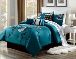 BEDROOM TEAL BLUE DUVET BROWN WHITE FLOWERS COMFORTER BED CO