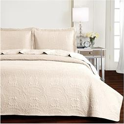 Mellanni Bedspread Coverlet Set Beige - BEST QUALITY Comfort