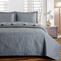 Mellanni Bedspread Coverlet Set Charcoal Comforter Oversized