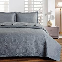 Mellanni Bedspread Coverlet Set Charcoal Comforter Oversized