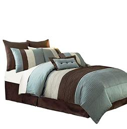 8 Pieces Beige, Blue and Brown Stripe Comforter Set Queen Si