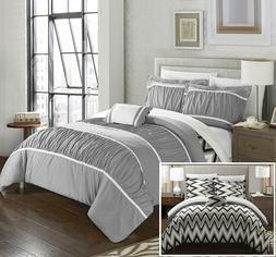 Chic Home Bella 4 Piece Comforter Set Reversible Ruffled Ple