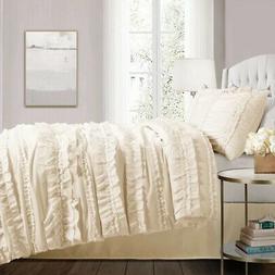 Lush Decor Belle 4-Piece Ivory Comforter Queen Set