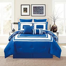 KingLinen 12 Piece Bernard Navy Comforter Set with Sheets Qu