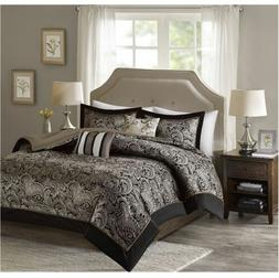 Best King Comforter Sets 5-Piece Charlize Jacquard Soft Blac