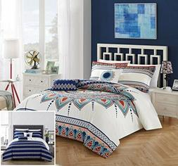 Chic Home Bethany 5 Piece Comforter Set, King, Blue, 5