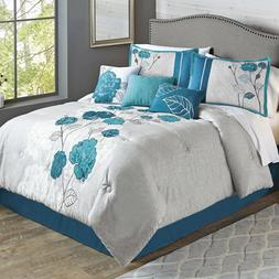 Better Homes and Gardens 7 Piece King Size  Blooming Teal Ro