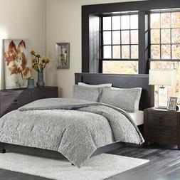 Madison Park Bismarck King Size Bed Comforter Set - Grey, Em