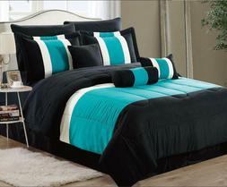 Black & Teal 8-pc Bed In A Bag Comforter Set Sheet Set Inclu