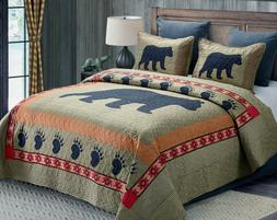 BLACK BEAR PAW ** King ** QUILT SET : LODGE CABIN COUNTRY MO