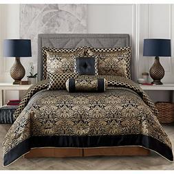 OSVT 7 Piece Black Gold Jacquard Floral Comforter King Set,