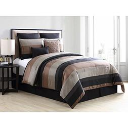TL 8 Piece Black Gold Rugby Stripes Comforter Set Full, Dark
