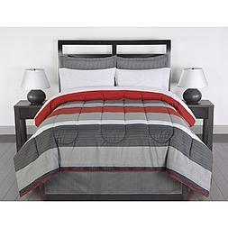 Black Gray Red Stripes Boys Teen Full Comforter Set  by N/A