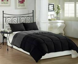 Chezmoi Collection Black/Grey Down Alternative Comforter Set