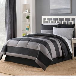 Black Grey Stripe Full Size Comforter Set Sheets Bed Skirt B