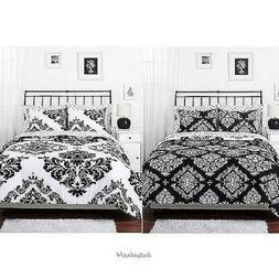 Black White Comforter Bedding Set Damask Pattern Shams Class