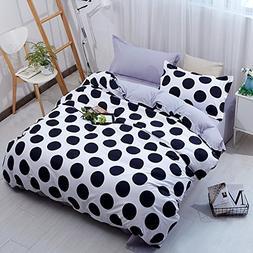 YOUSA 3Pcs Black White Polka Dot Bedding Microfiber Polka Do