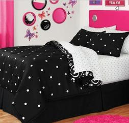 Black & White Polka Dot Reversible Full Comforter Set