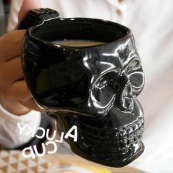 Black / White Skull Mug for Lovers Ceramic Coffee Tea Milk D