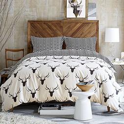 Zebra Elk Pattern Duvet Cover Set Black and White Animal Bed