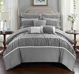 Chic Home 10 Piece Blanche Pleated & Ruffled Queen Bed In a