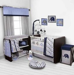 Blue Baby Boy Crib Bedding Set 10p Cotton Blanket Sheet Comf