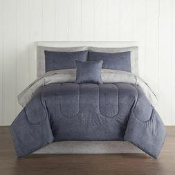 Home Expressions Blue Bayport Stripes 8-Piece Bedding Set wi