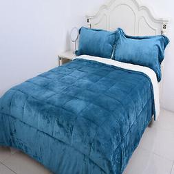 Blue Flannel Sherpa Comforter Set of 2 Shams Super Soft Bedd