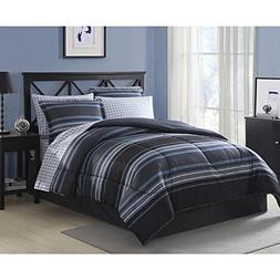 Blue Gray Striped Comforter Set Full Size Bedding Set 8 Piec