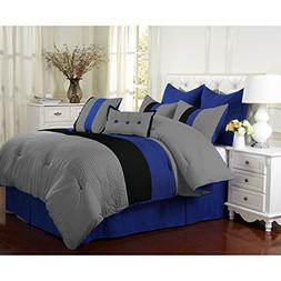 8 Piece Blue Grey Black Stripe Theme Comforter Queen Set, Tr