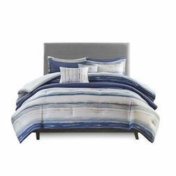 Madison Park Blue Marina 8 Piece Seersucker Comforter Coverl