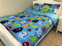 Blue New 6 Pieces Twin Size Kids BOYS Bed In A Bag Comforter