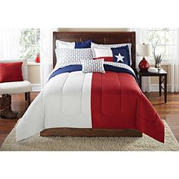 N2 8 Piece Blue Red White American Themed Comforter Queen Se