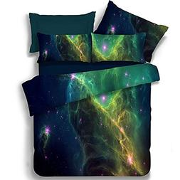 Ammybeddings 4 Piece Blue Space Duvet Cover with 1 Sheet and